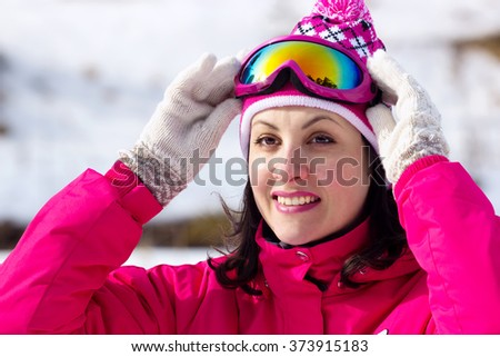 A woman enjoying snow during the winter, All Winter Magic, Photography - stock photo