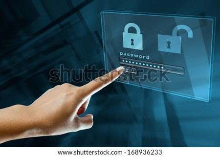 a woman finger sign a password on a digital screen - stock photo
