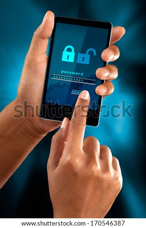 a woman finger sign a password on a mobile phone - stock photo