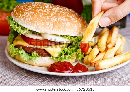 A woman having hamburger with fires. - stock photo