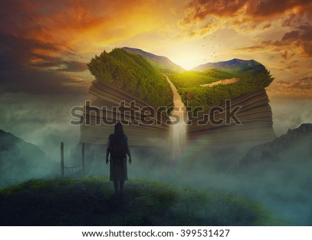 A woman hikes to a giant book with waterfall. - stock photo