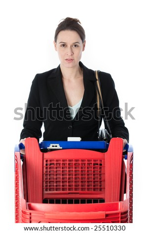 A woman in a business suit in a shopping scenario - stock photo