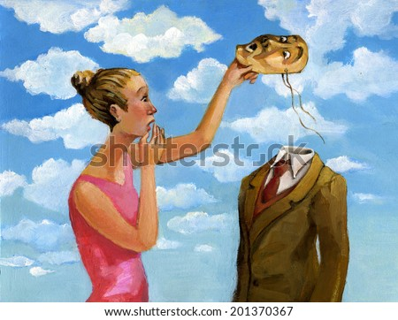 a woman in a man removes his mask and discovers that there is a void behind - stock photo