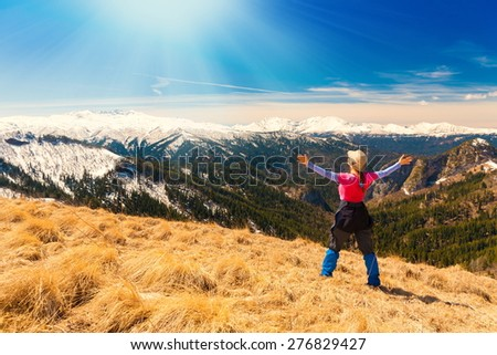 A woman in beautiful amazing day view autumn landscape mountain nature background country russia caucasus paradise concept leisure ecology equipment hobby - stock photo