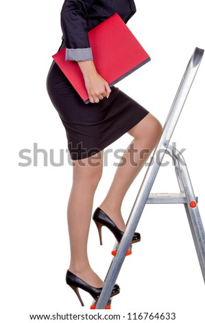a woman in business attire with job application. proper clothing for the interview. - stock photo