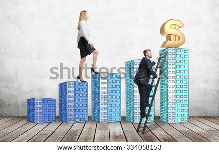 A woman in formal clothes is going up using a stairs which are made of houses, while a man has found a shortcut how to reach a final point. A concept of success. Concrete background and wooden floor. - stock photo