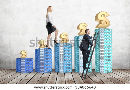 A woman in formal clothes is going up using a stairs which are made of houses, while a man has found a shortcut how to reach a final point. A concept of success. - stock photo