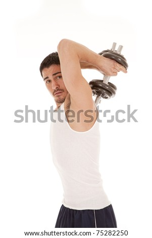 A woman is working out holding weights behind his back. - stock photo
