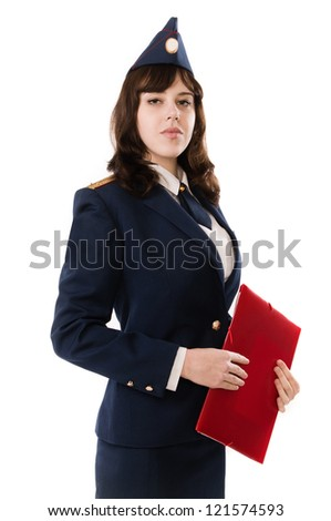 A woman officer in the Russian Military - stock photo