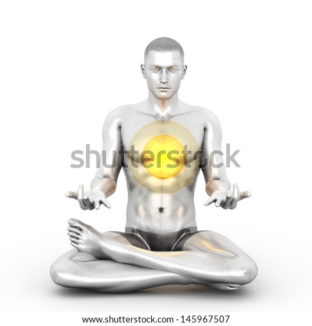 A woman performing a Anahata chakra meditation. 3D rendered illustration.  - stock photo