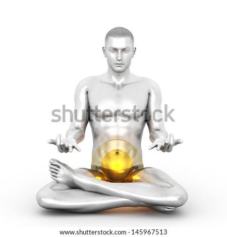 A woman performing a Swadhistana chakra meditation. 3D rendered illustration.  - stock photo