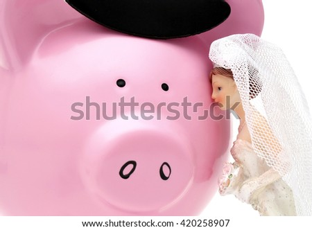 A woman sees her husband as a piggy bank - stock photo
