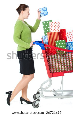 A woman shopping for gifts on a white background - stock photo