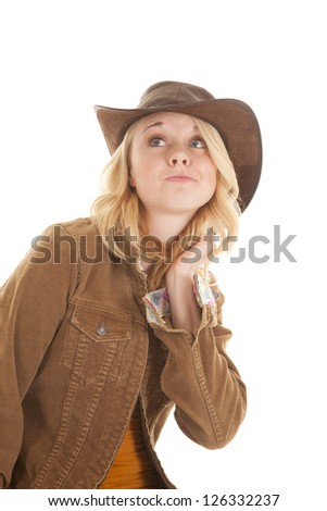 A woman showing off her attitude while wearing her western wear. - stock photo