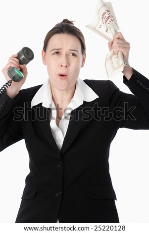 A woman simulating unfavorable financial trading activity on a white background. - stock photo