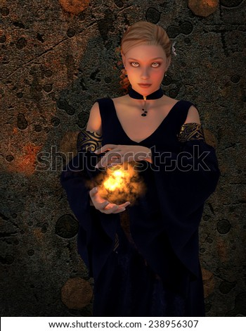 A woman stands holding a ball of fire.  She is wearing medieval gown and has a velvet choker. - stock photo
