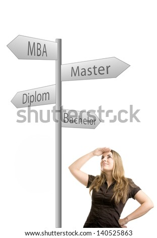A woman who makes a decision what kind of education she begins isolated on white background - stock photo