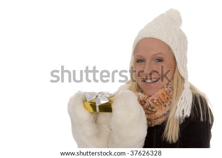 A woman with a present - stock photo