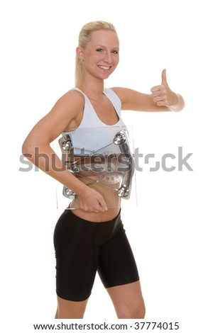 A woman with a scales - stock photo