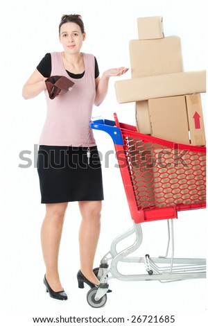 A woman with an empty purse in a shopping scenario - stock photo