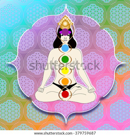 a woman with seven chakras sitting - background with flower of live symbol - stock photo