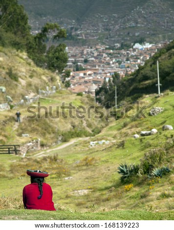 A women in Cusco - stock photo