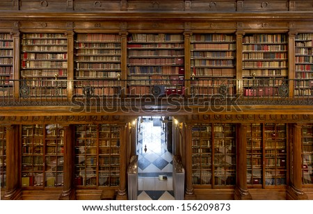 A wonderful library of old books Menendez Pelayo in Santander - Spain - stock photo
