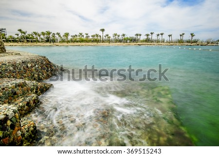 A wonderful marine landscape, views of the sea and the beach with Palm trees, Egypt, Hurghada - stock photo