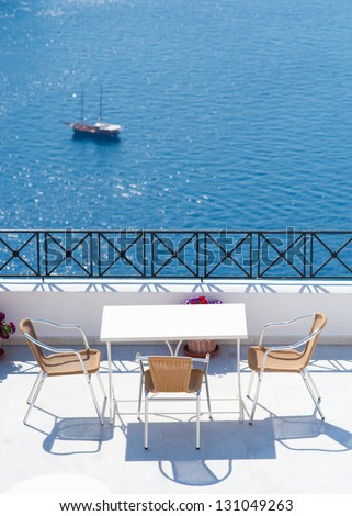 a wonderful veiw on open air cafe on santorini - stock photo