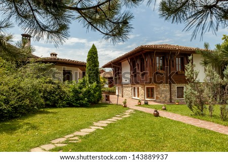 A wood old house from Arbanasi, Bulgaria. - stock photo