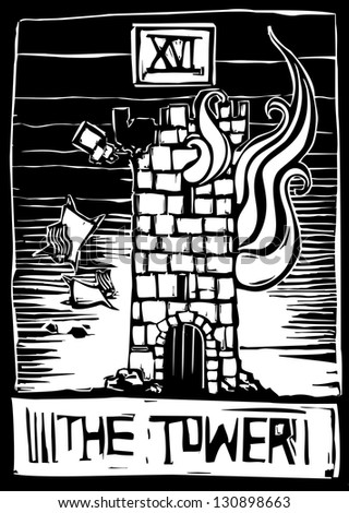 A woodcut style tarot card for the number 16 the tower. - stock photo