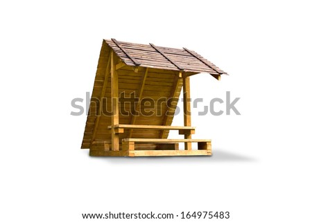 A wooden arbor  on a white background  - stock photo
