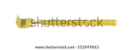a wooden backscratcher on a white background. - stock photo