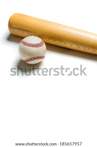 A wooden baseball bat and ball on a white background - stock photo