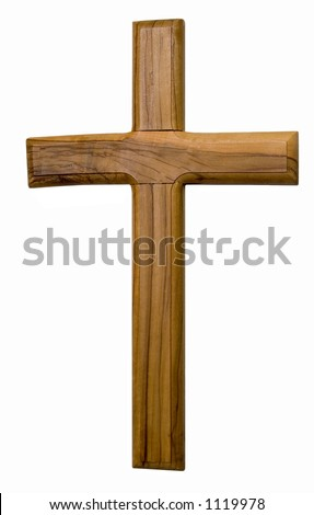 A wooden cross isolated on a white background. - stock photo