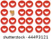 A wooden heart and a red heart next to eleven red heart couples - stock photo