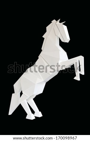 A wooden horse isolated on black background - stock photo
