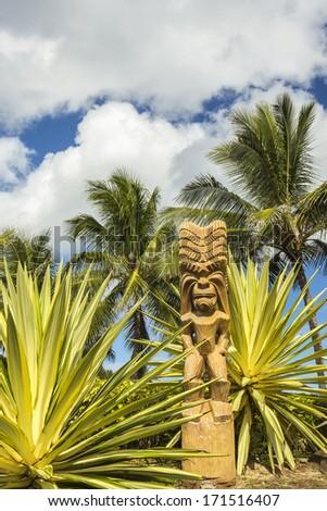 A wooden Polynesian tiki carving on Oahu, Hawaii - stock photo