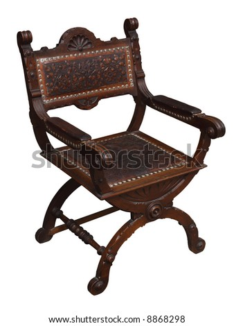 A wooden Renaissance armchair. Isolated. - stock photo
