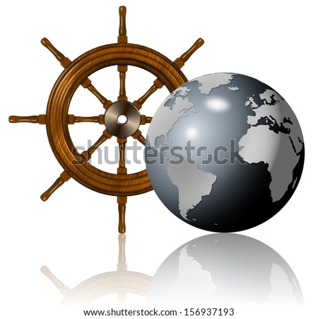 A wooden ship wheel and Earth globe in front of it / Sailing around the world - stock photo