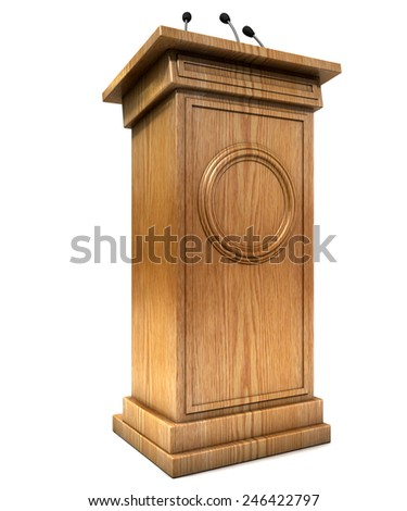 A wooden speech podium with three small microphones attached on an isolated white studio background - stock photo