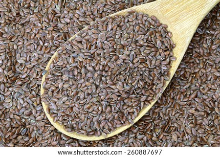 A wooden spoon full of Linseed (Flaxseed). Flaxseed are seeds from flax plant.  - stock photo