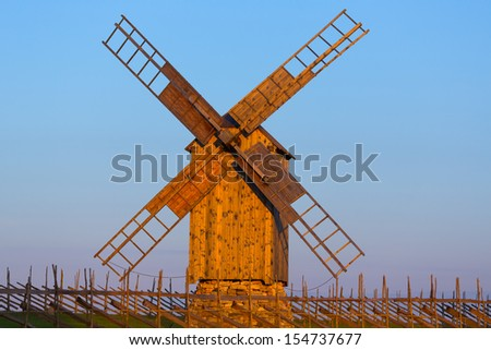 A wooden windmill in Angla, Saaremaa island, Estonia - stock photo
