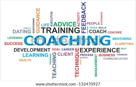 A word cloud of coaching related items - stock photo