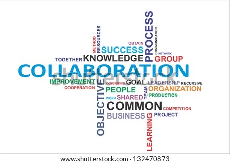 A word cloud of collaboration related items - stock photo