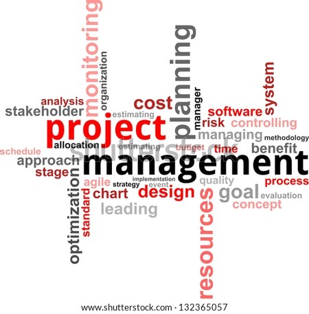 A word cloud of project management related items - stock photo