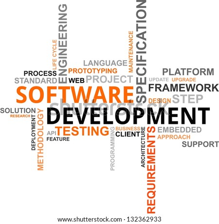 A word cloud of software development related items - stock photo