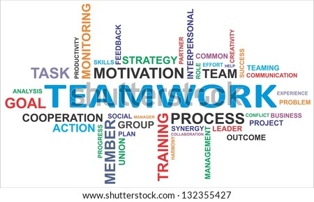 A word cloud of teamwork related items - stock photo