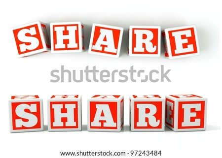 "a word ""share"" in a cubes on white - stock photo"