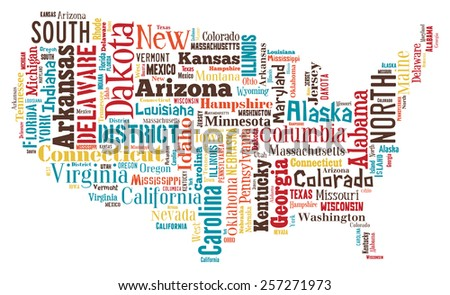 A wordcloud of the United States of America made from it's cities and towns. - stock photo